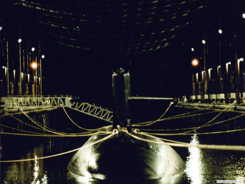 USS La Jolla (SSN-701) in the degaussing facility Puget Sound WA