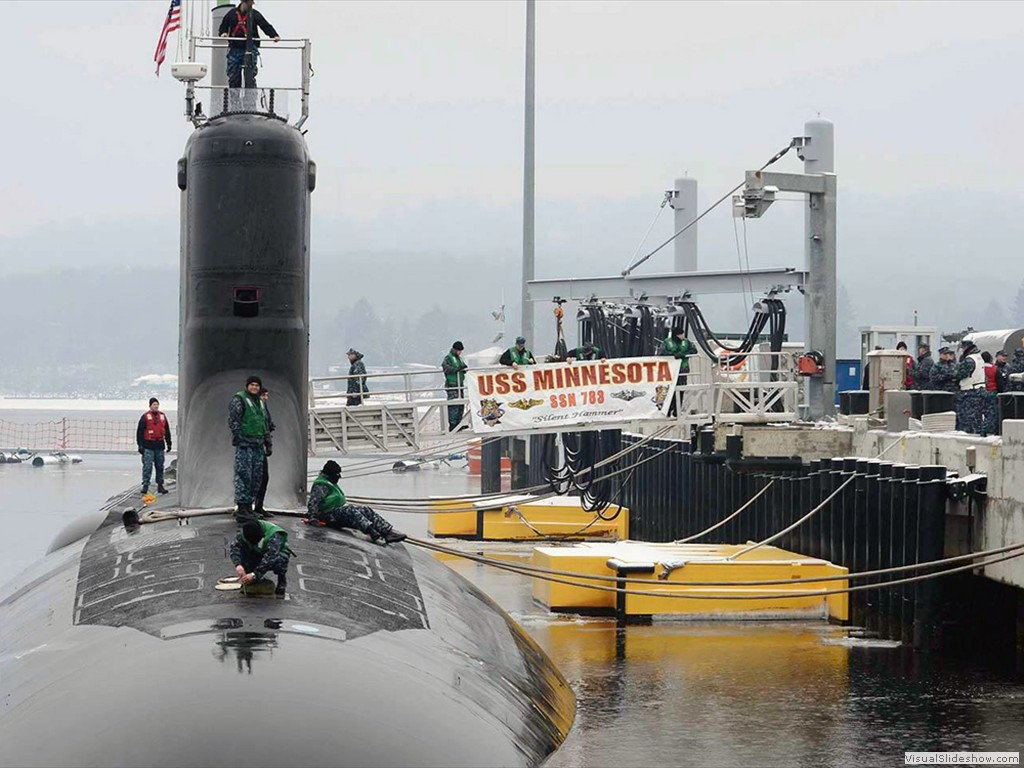 USS Minnesota (SSN-783) at the submarine base, Groton, CT, during 2013